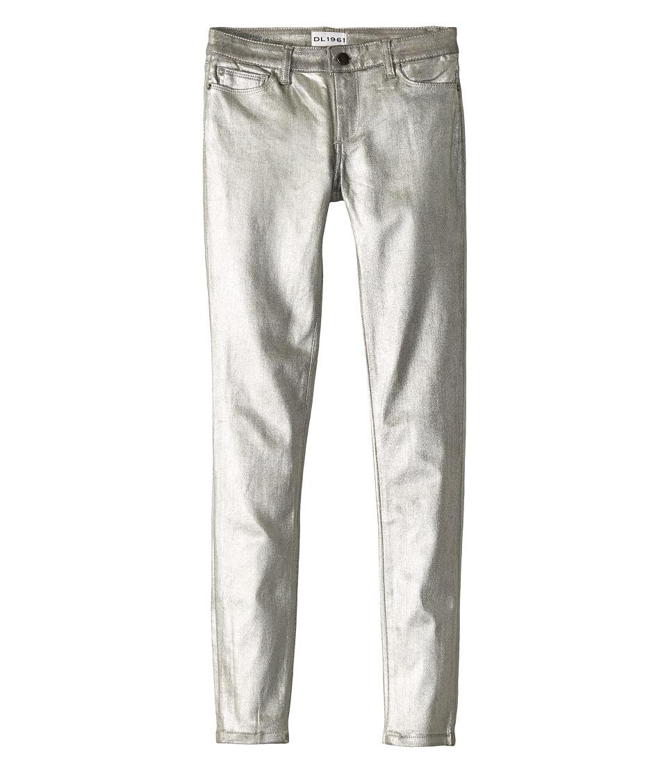DL1961 Kids Silver Coated Skinny Jeans in Silverado (Big Kids) (Silverado) Girl
