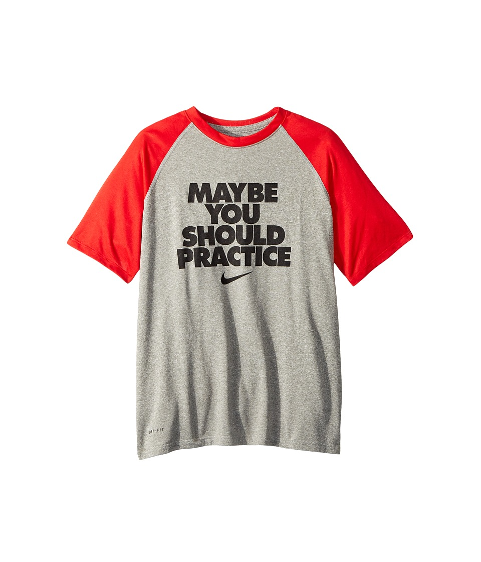 Nike Kids - Dry Legend Should Practice Tee (Little Kids/Big Kids) (Dark Grey Heather/University Red/Gym Red) Boys T Shirt