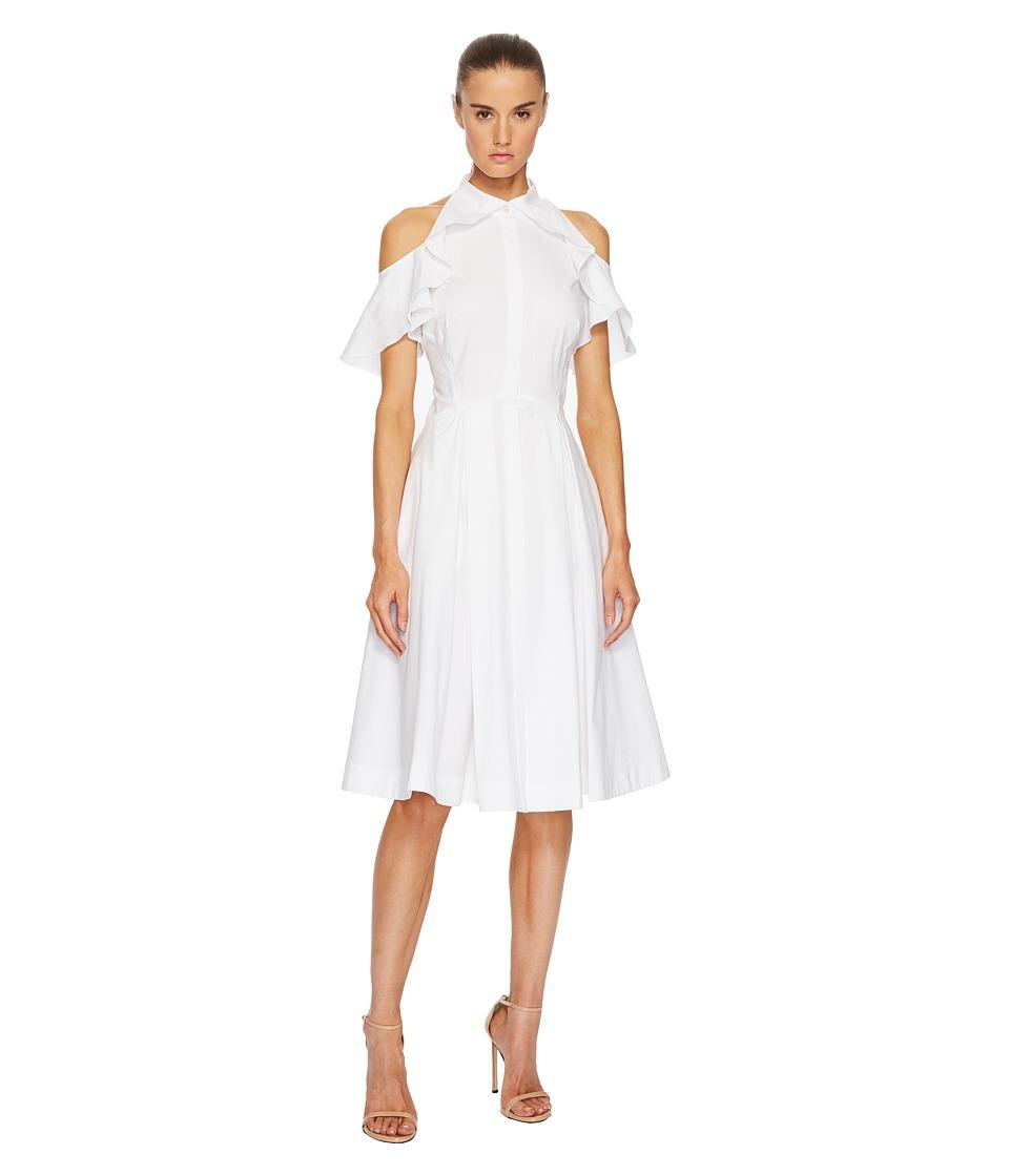 Zac Posen Cotton Poplin Cold Shoulder Dress (White) Women