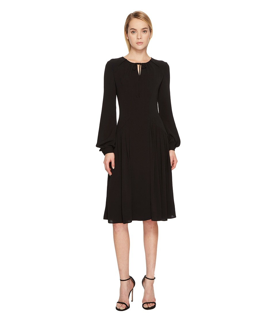 Zac Posen Solid Crepe Long Sleeve Dress (Black) Women