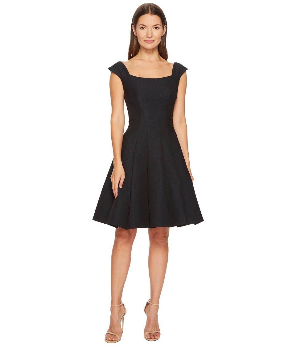 Zac Posen Gauffre Jacquard Sleeveless Fit and Flare Dress (Black) Women