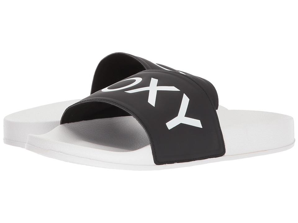 Roxy Slippy II (Black/White) Slides