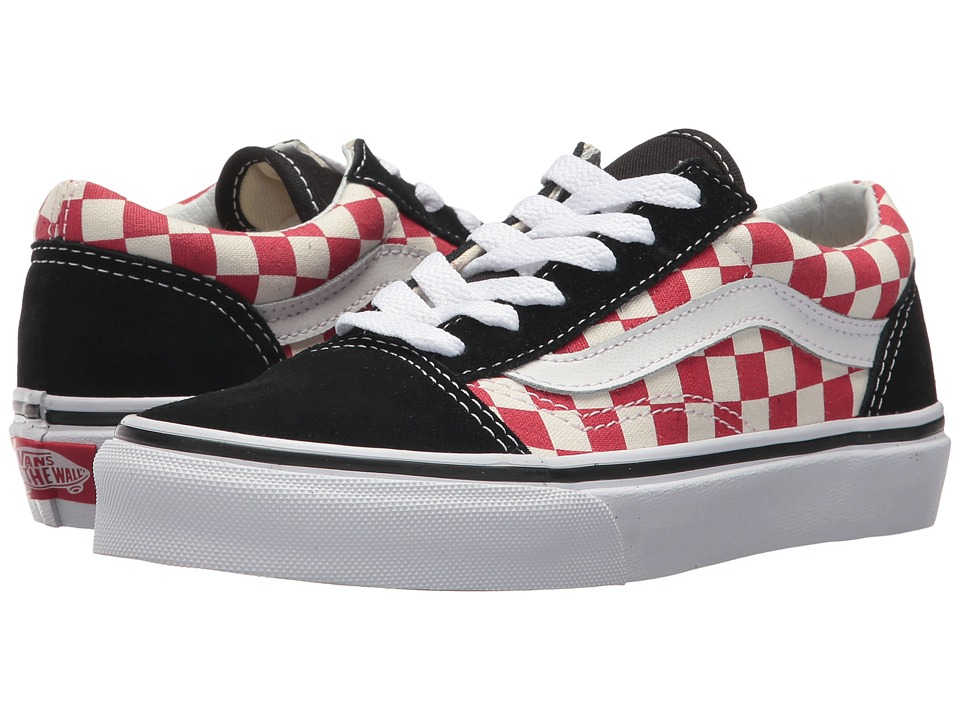 Vans Kids Old Skool (Little Kid/Big Kid) ((Checkerboard) Black/Red) Boys Shoes