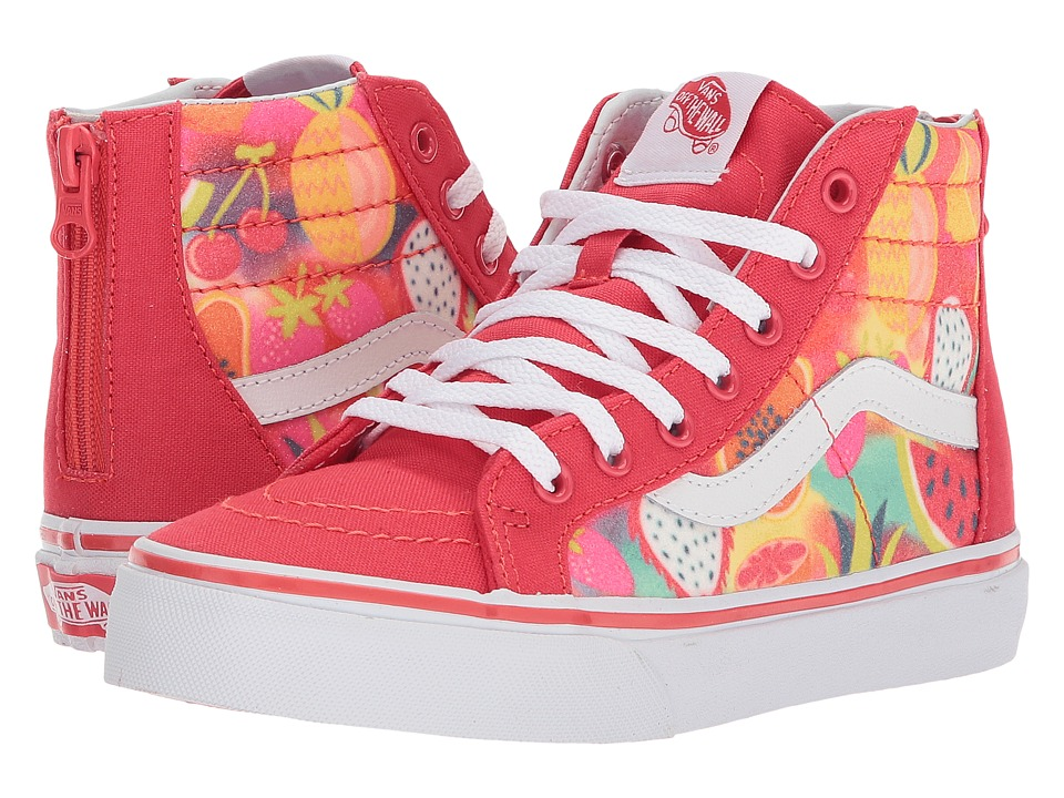 Vans Kids Sk8-Hi Zip (Little Kid/Big Kid) ((Glitter Fruits) Hibiscus/True White) Girls Shoes