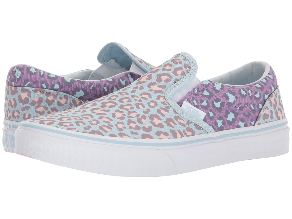 Vans Kids Classic Slip-On (Little Kid/Big Kid) ((Two-Tone Leopard) Baby Blue/Diffused Orchid) Girls Shoes