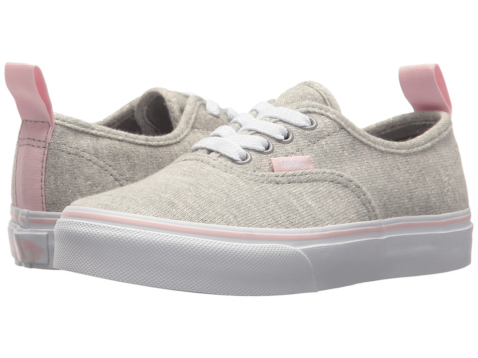 Vans Kids Authentic Elastic Lace (Little Kid/Big Kid) ((Shimmer Jersey) Gray/Pink) Girls Shoes
