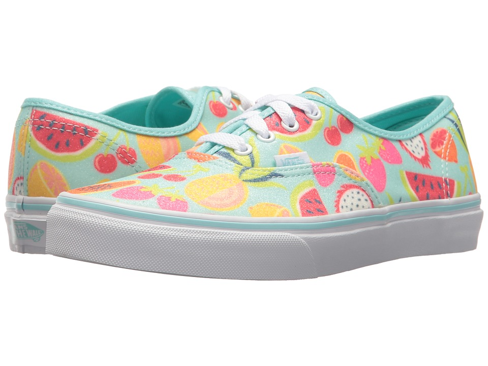 Vans Kids Authentic (Little Kid/Big Kid) ((Glitter Fruits) Island Paradise/True White) Girls Shoes
