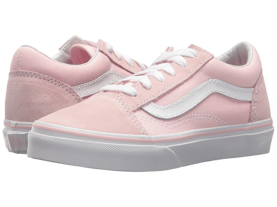 Vans Kids Old Skool (Little Kid/Big Kid) ((Suede/Canvas) Chalk Pink/True White) Girls Shoes