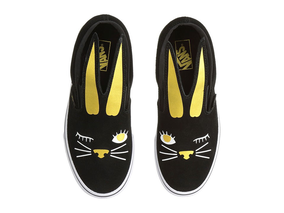 Vans Kids Slip-On Bunny (Little Kid/Big Kid) (Black/Gold) Girls Shoes