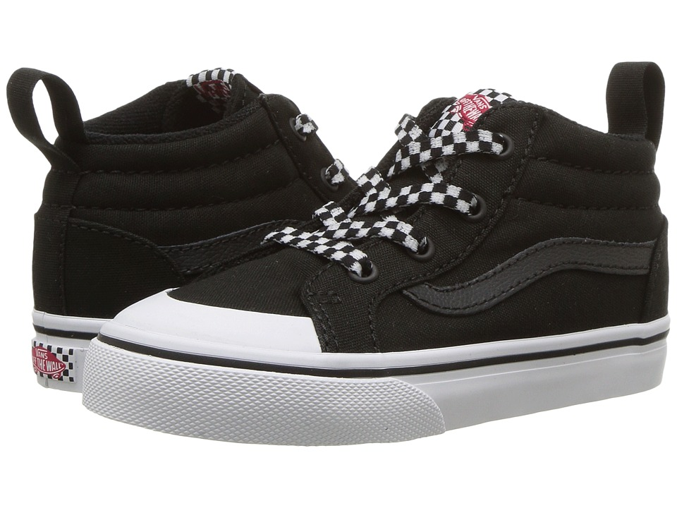 Vans Kids Racer Mid (Toddler) ((Check Lace) Black/True White) Boys Shoes