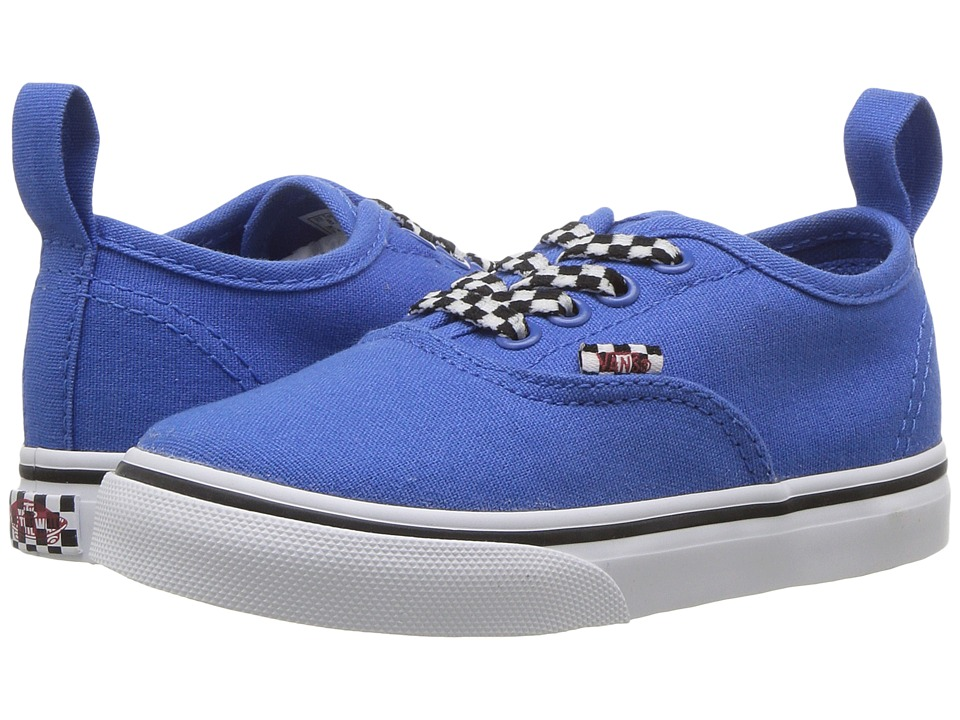 Vans Kids Authentic Elastic Lace (Toddler) ((Check Lace) Victoria Blue/True White) Boys Shoes