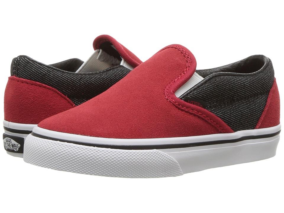 Vans Kids - Classic Slip-On (Toddler) ((Suede/Suiting) Racing Red/Black Denim) Boys Shoes