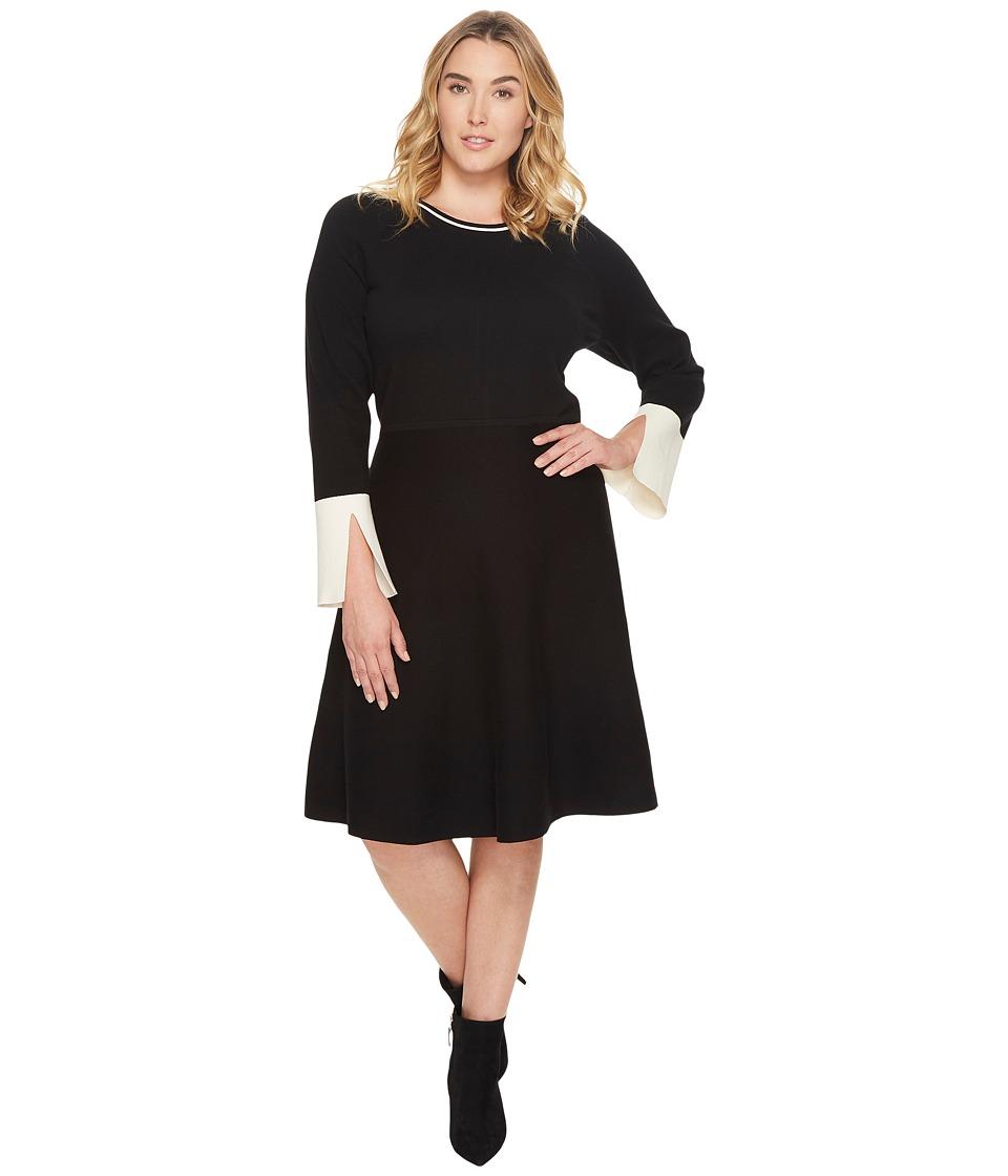 Vince Camuto Specialty Size Plus Size Long Sleeve Split Cuff Flared Dress (Rich Black) Women