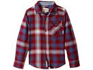 Lucky Brand Kids Long Sleeve Plaid Shirt Chambray Elbow (Little Kids/Big Kids)