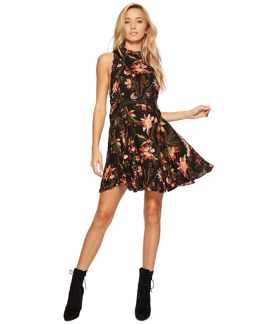 Free People Printed She Moves Slip (Black Combo) Women