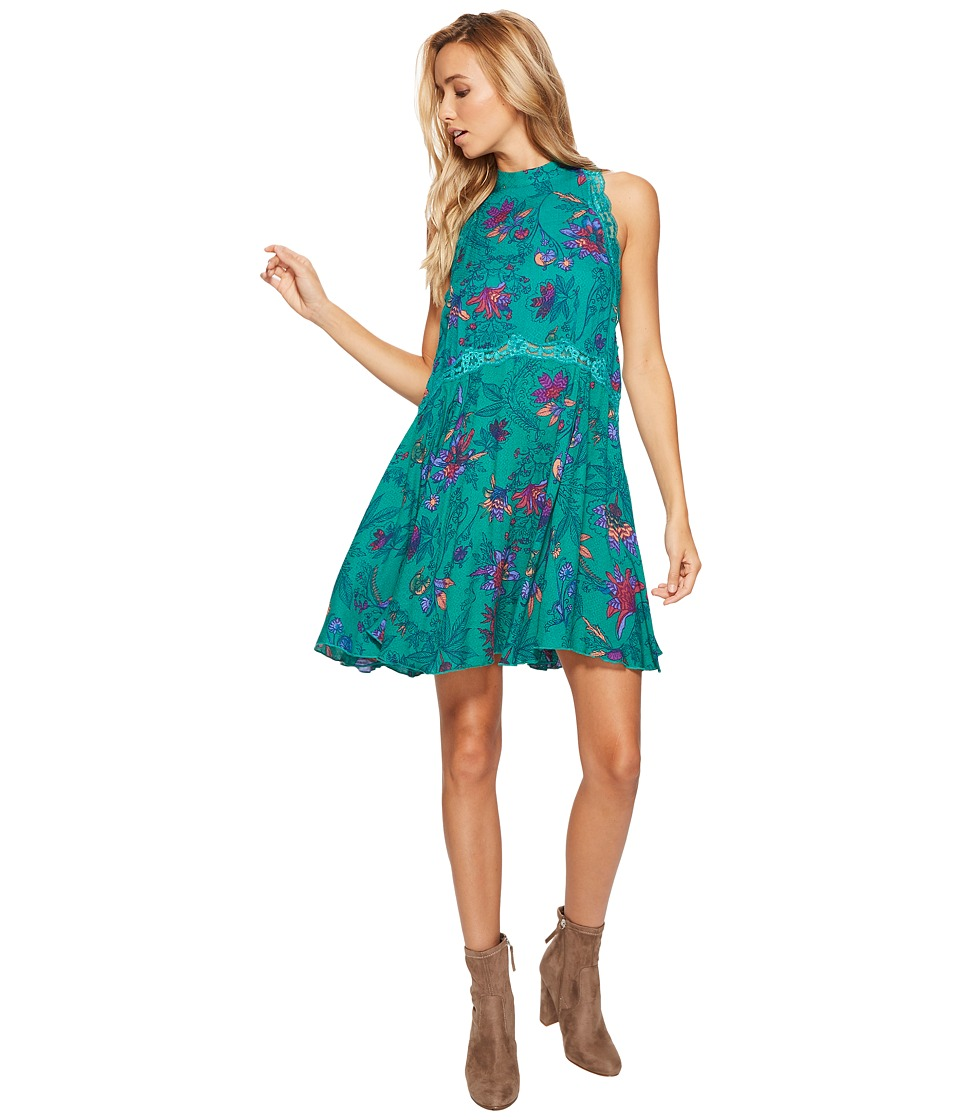 Free People Printed She Moves Slip (Green Combo) Women