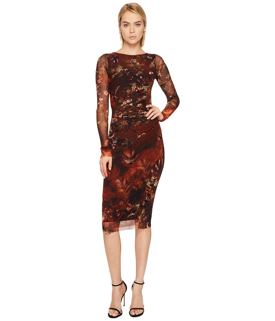 FUZZI - Long Sleeve Bird Print Dress Cover-Up