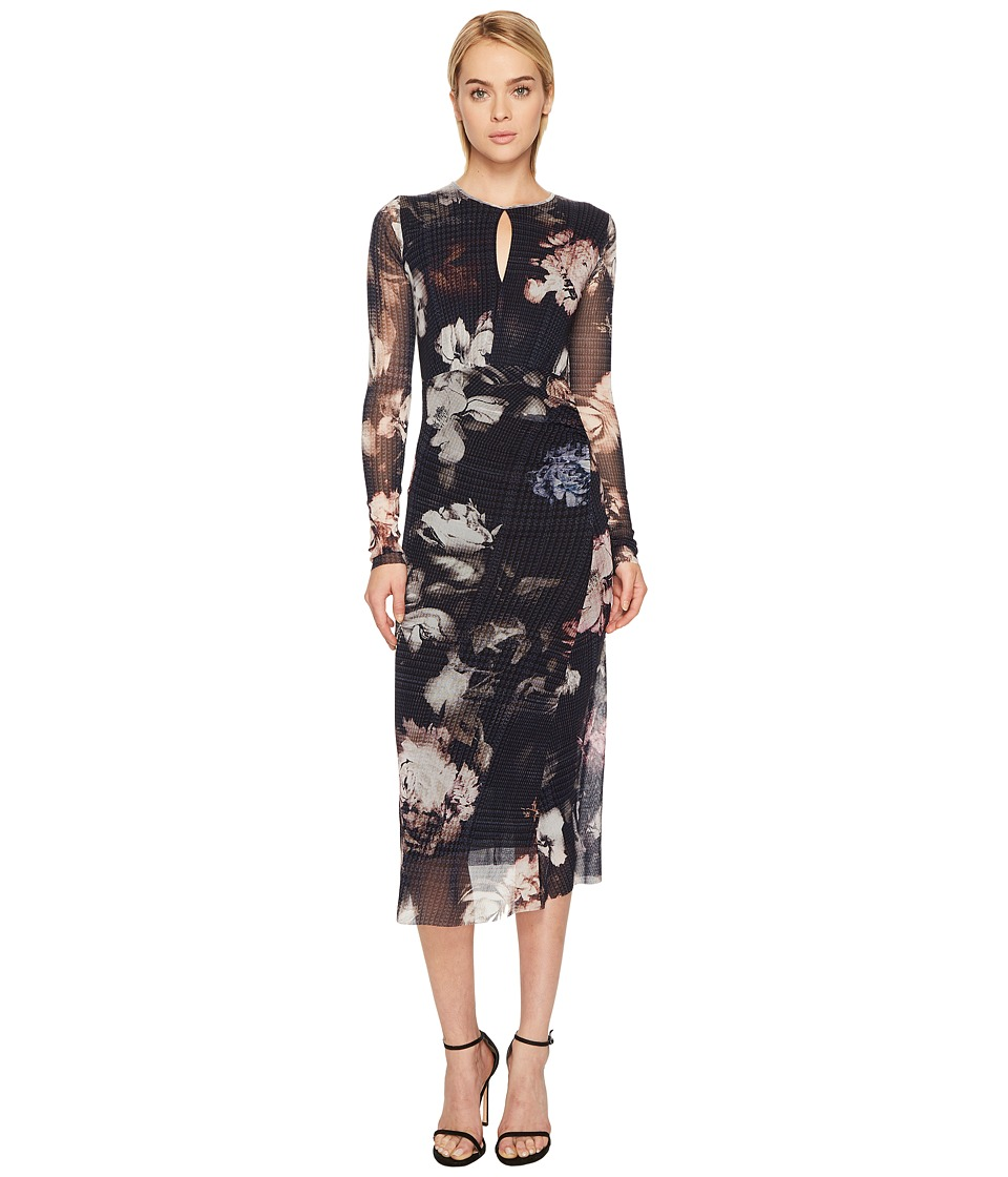 FUZZI - Long Sleeve Printed Dress with Keyhole Detail Cover