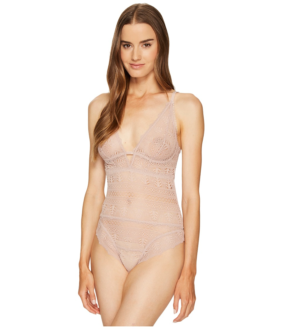 ELSE - Ivy Deep Decolette Soft Cup Bodysuit (Ballet Pink) Womens Jumpsuit & Rompers One Piece