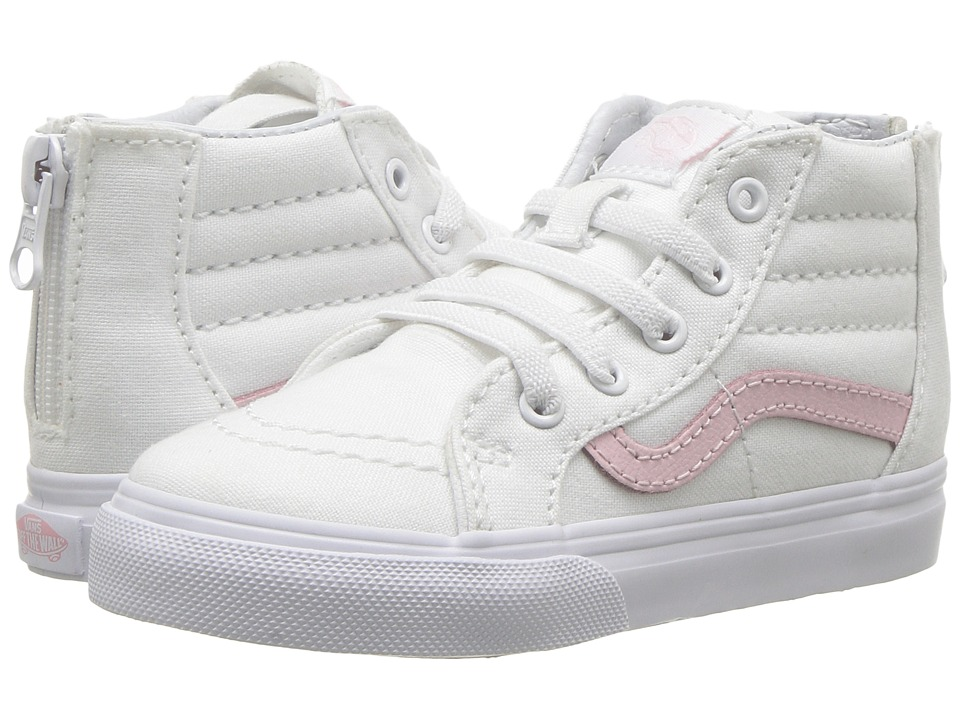 Vans Kids Sk8-Hi Zip (Toddler) (True White/Chalk Pink) Girls Shoes