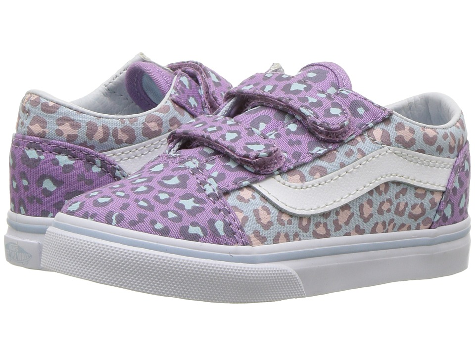 Vans Kids Old Skool V (Toddler) ((Two-Tone Leopard) Baby Blue/Diffused Orchid) Girls Shoes