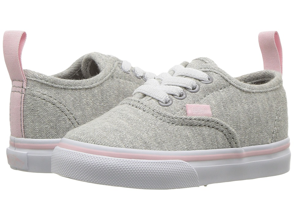 Vans Kids Authentic Elastic Lace (Toddler) ((Shimmer Jersey) Gray/Pink) Girls Shoes