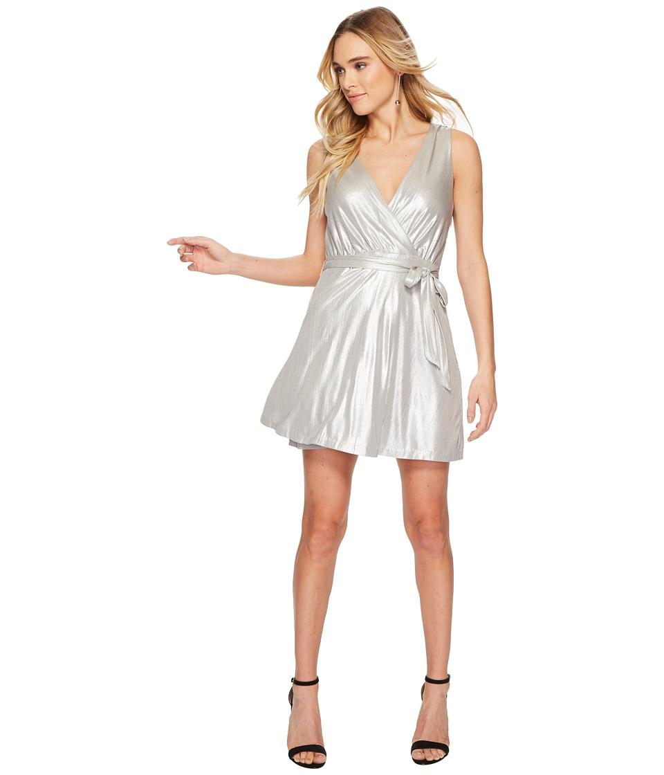Image of BB Dakota - Aggie Metallic Wrap Dress (Silver) Women's Dress