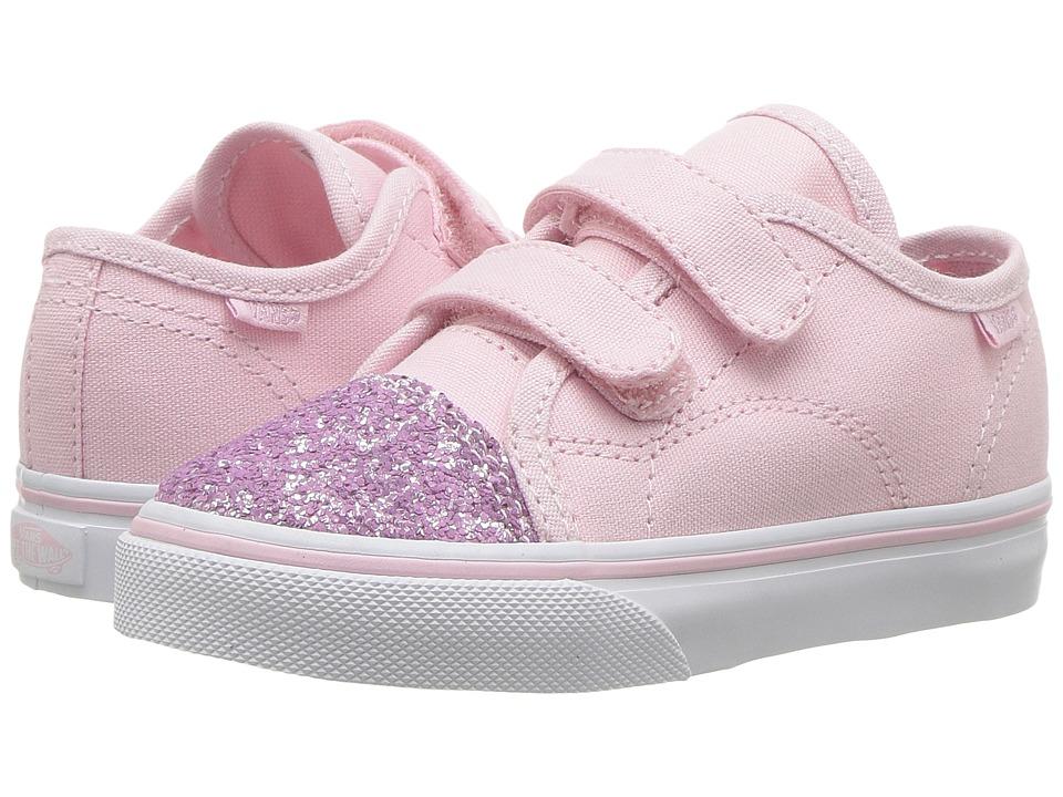 Vans Kids Style 23 V (Toddler) ((Glitter Toe) Chalk Pink/True White) Girl's Shoes