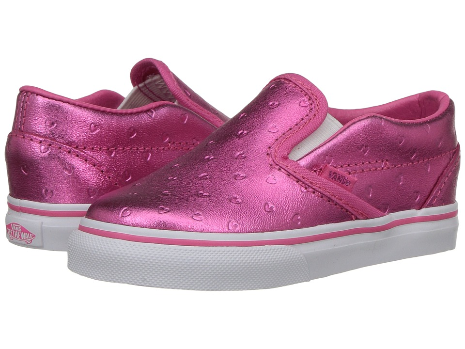 Vans Kids - Classic Slip-On (Toddler) ((Metallic Hearts) Emboss/Hot Pink) Girls Shoes