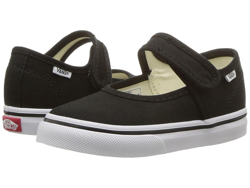 Vans Kids Mary Jane (Toddler) (Black/True White) Girls Shoes