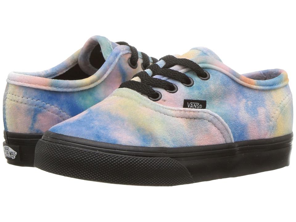 Vans Kids Authentic (Toddler) ((Velvet Tie-Dye) Multi/Black) Girls Shoes