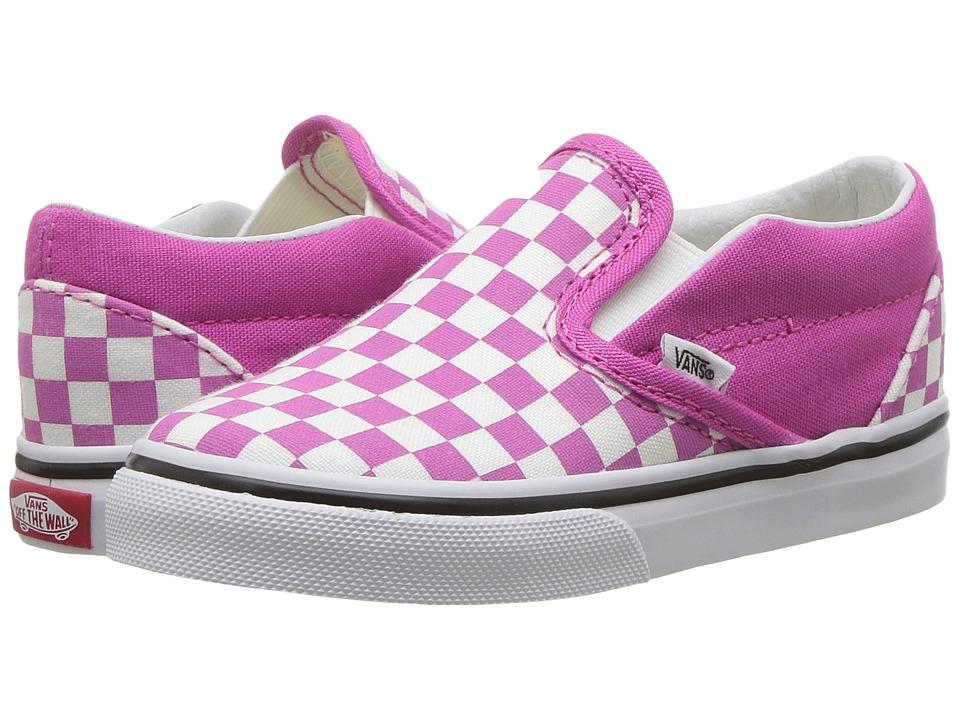 Vans Kids Classic Slip-On (Toddler) ((Checkerboard) Raspberry Rose/True White) Girls Shoes