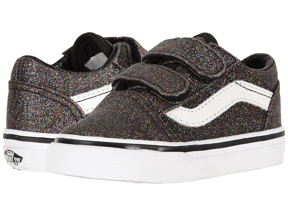 Vans Kids - Old Skool V (Toddler) ((Glitter) Rainbow Black) Girls Shoes