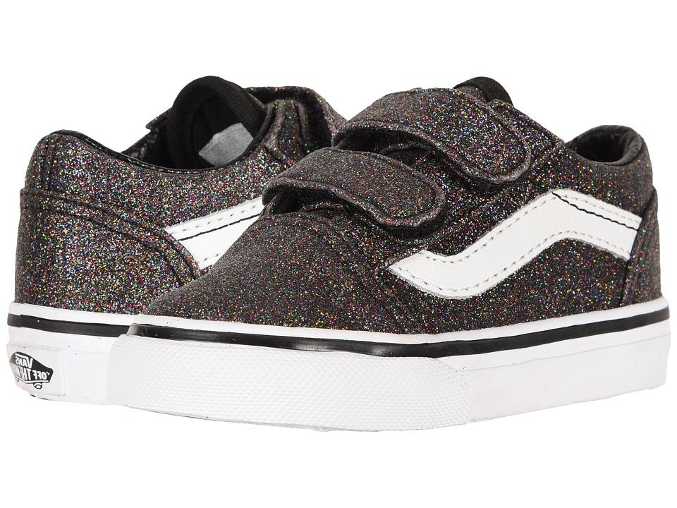 Vans Kids Old Skool V (Toddler) ((Glitter) Rainbow Black) Girls Shoes