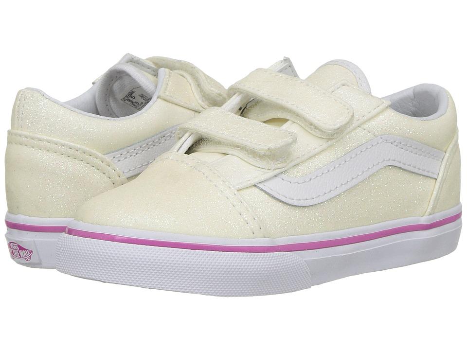 Vans Kids Old Skool V (Toddler) ((Glitter) Rainbow White) Girls Shoes