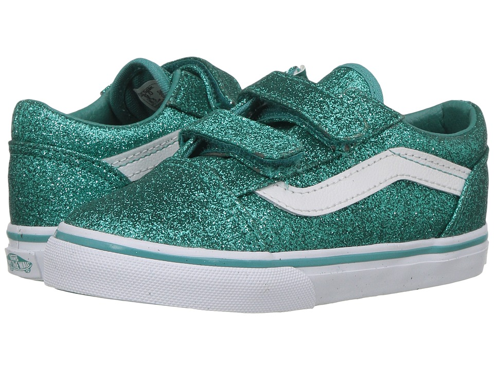 Vans Kids Old Skool V (Toddler) ((Glitter) Turquoise) Girls Shoes