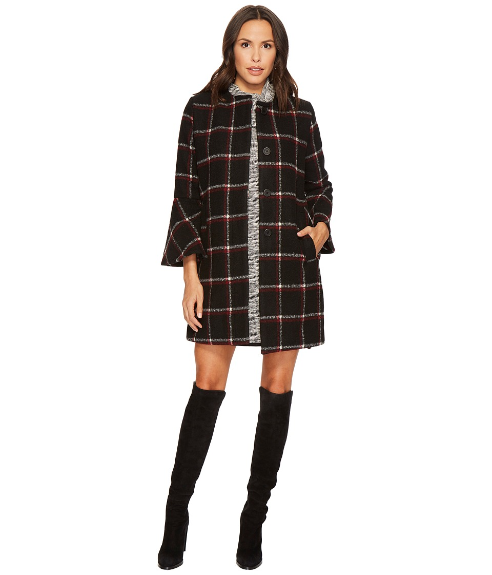 Vintage Style Coats, Jackets, Faux Fur, Tweed BB Dakota - Hewes Plaid Coat with Bell Sleeves Black Womens Coat $115.99 AT vintagedancer.com