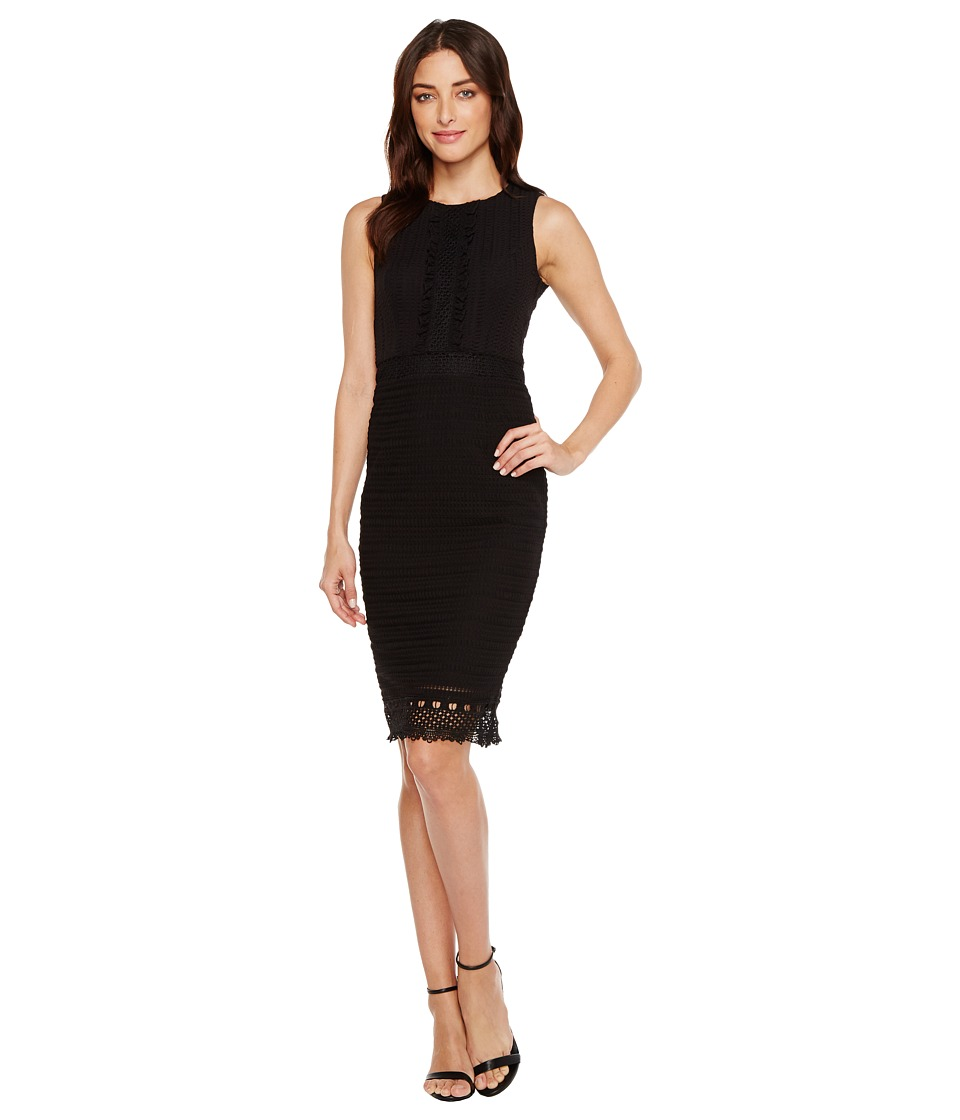 Jessica Simpson Sleeveless Lace Dress with Ruffle Front (Black) Women
