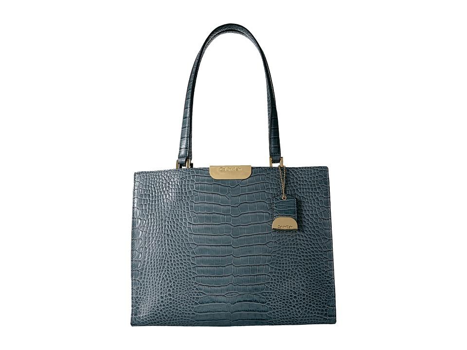 Calvin Klein Lola Croco Satchel (Cypress) Satchel Handbags