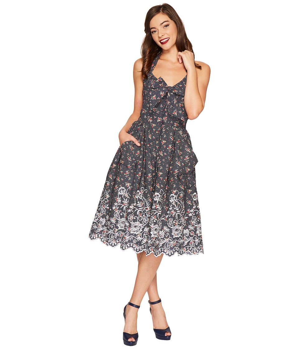 Unique Vintage Billie Halter Swing Dress (Navy Dot/Pink Floral) Women