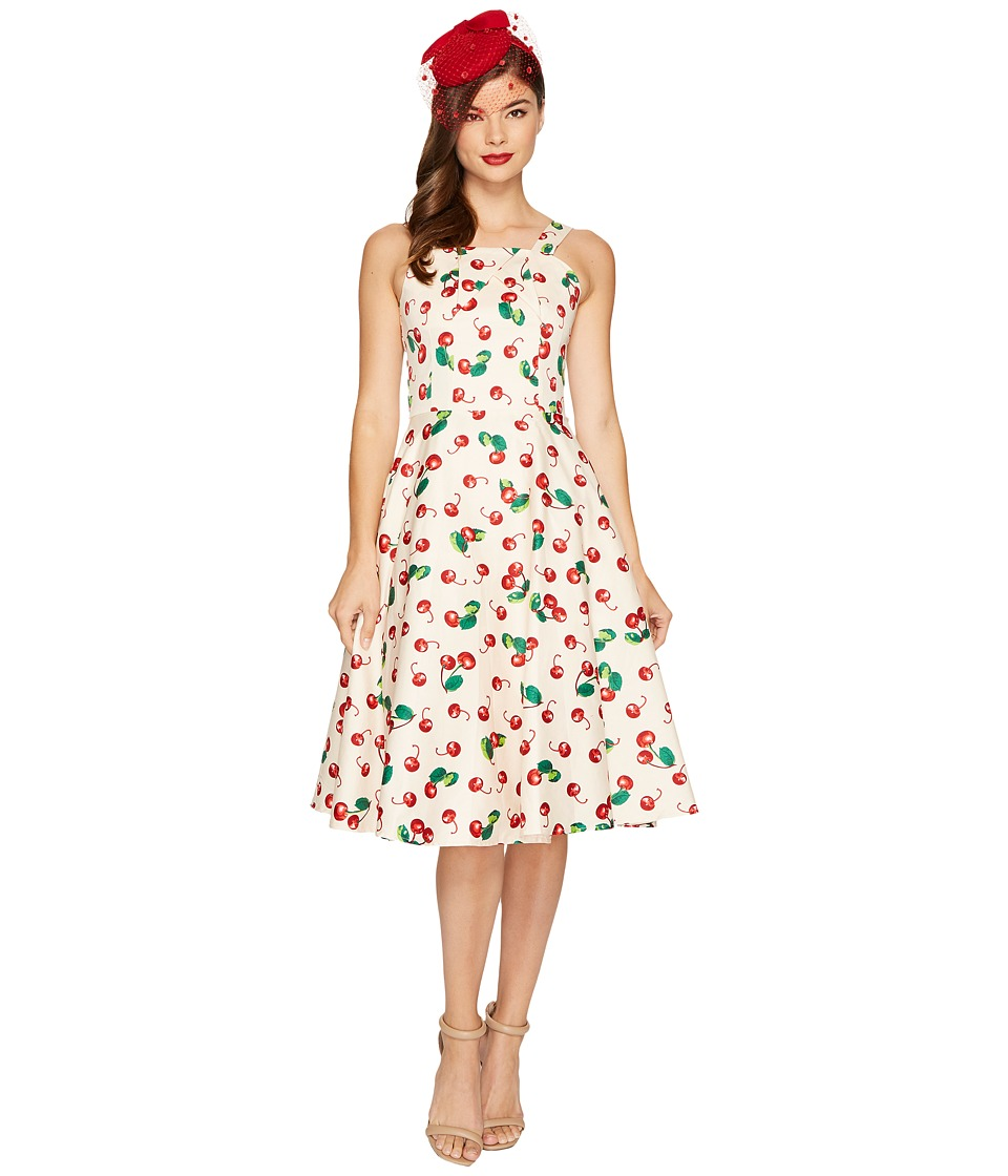 Unique Vintage Savannah Swing Dress (Peach/Cherry Print) Women