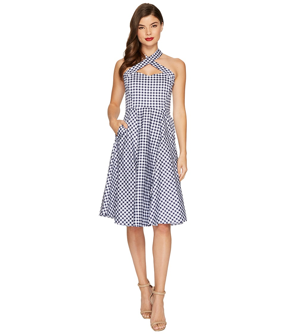 Unique Vintage Rita Flare Dress (Blue/White Gingham) Women