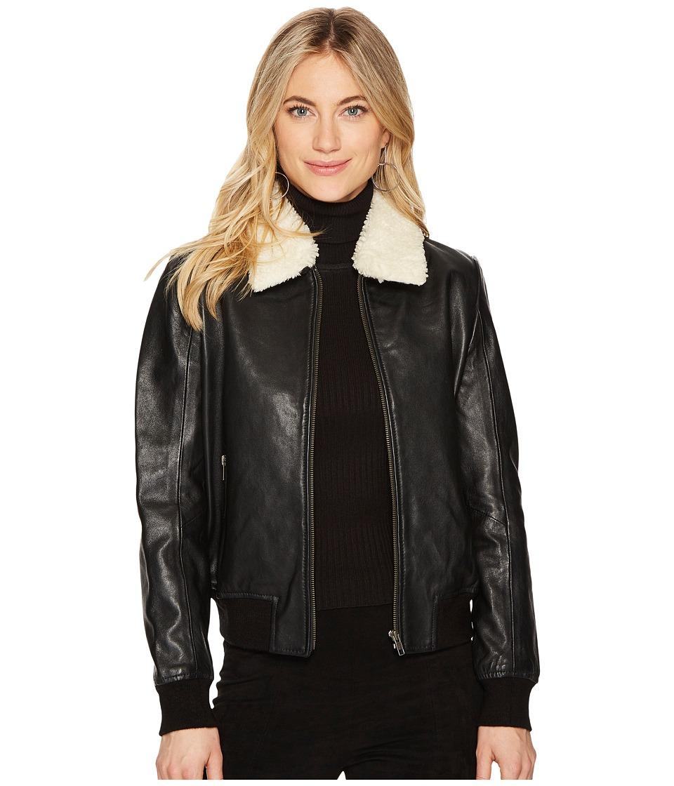 Dakota Burgess Sherpa Trim Leather Jacket (Black) Women's...
