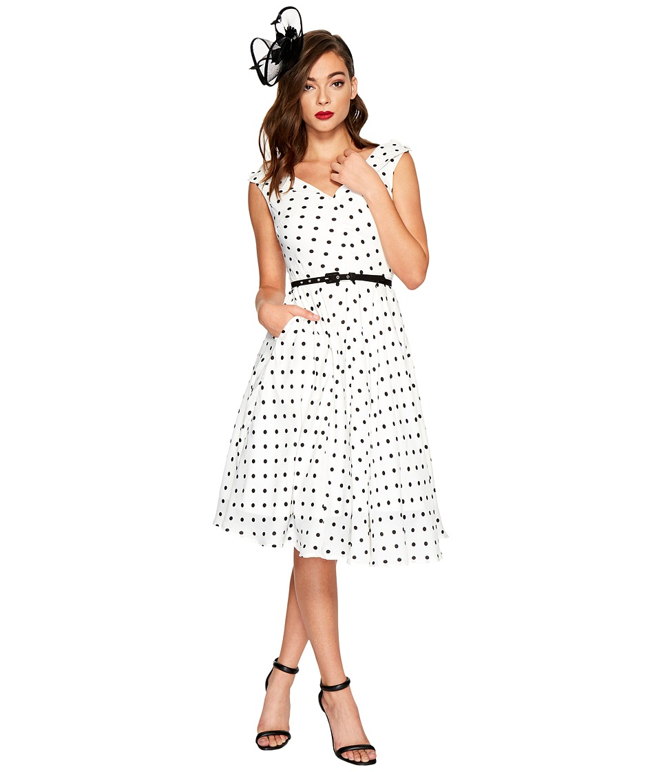 Unique Vintage Sleeveless Doris Swing Dress (White/Black Dotted) Women