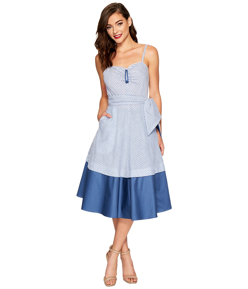 Unique Vintage Lonestar Swing Dress (Blue/White Stripe) Women