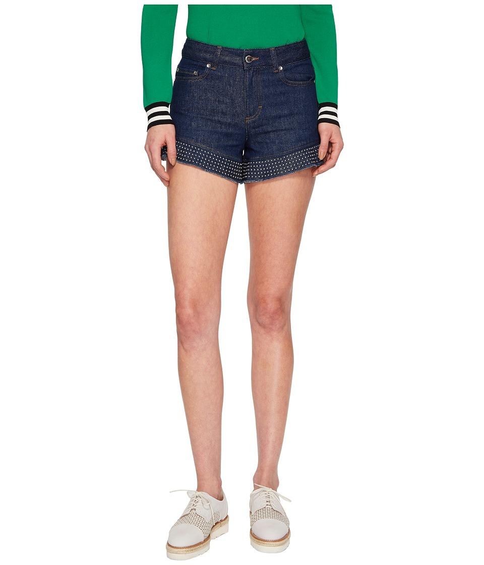 RED VALENTINO - Denim Shorts with Studs (Denim) Womens Shorts