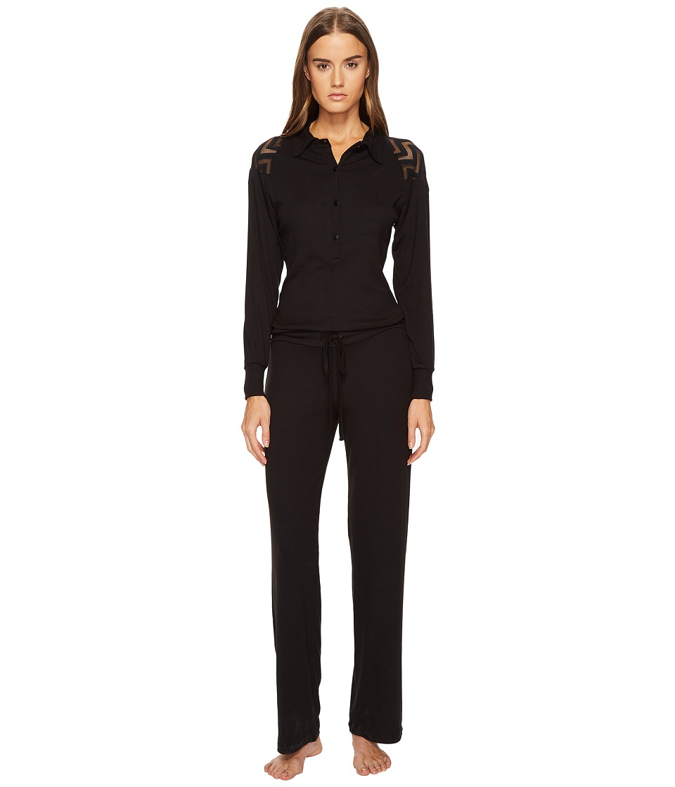 ELSE - Chevron Cashmere Blend Polo Collar Jumpsuit