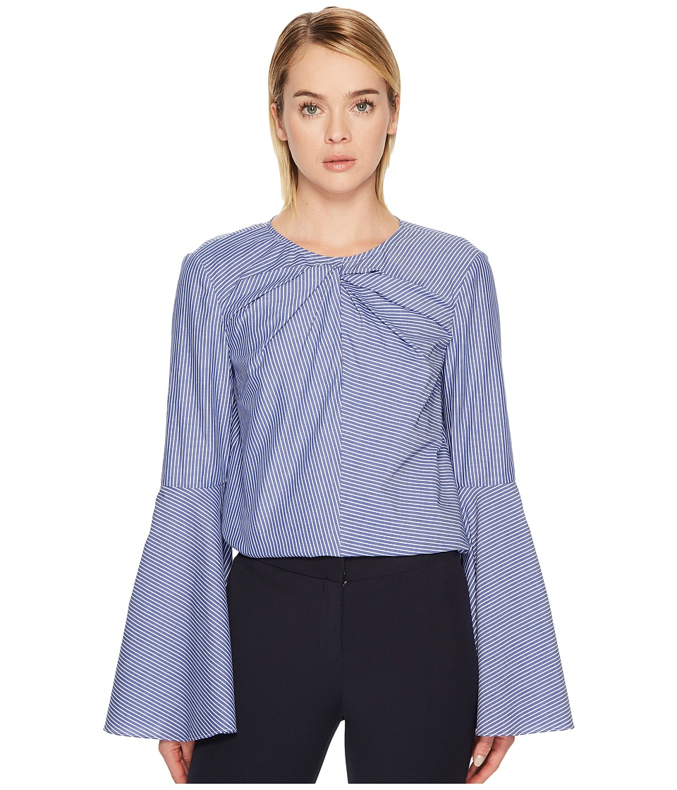 Prabal Gurung - Stripe Cotton Long Sleeve Keyhole Blouse