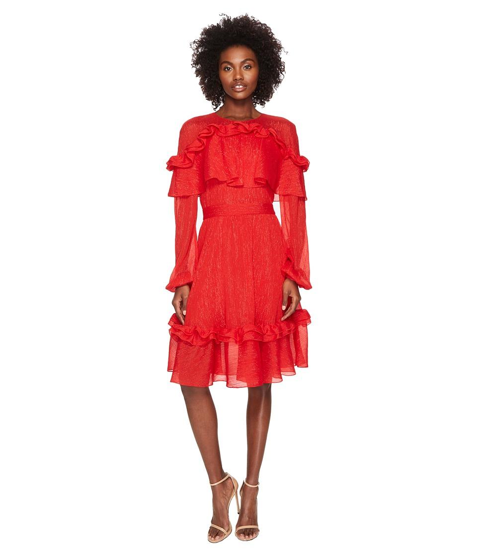 Prabal Gurung Crinkle Lurex Chiffon Long Sleeve Dress (Crimson) Women