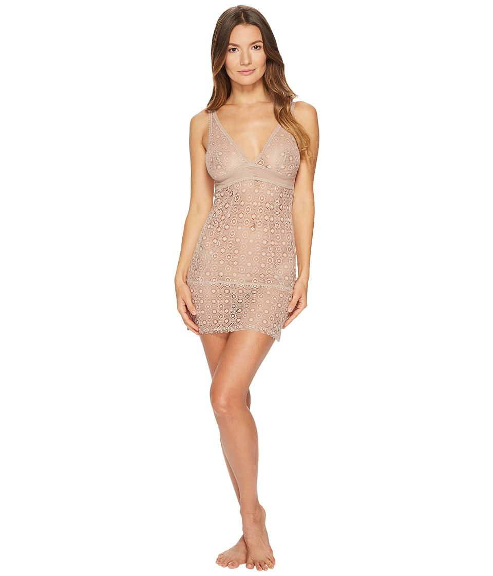 ELSE - Coachella Plunge Soft Cup Fitted Chemise (Rose Dust) Womens Pajama